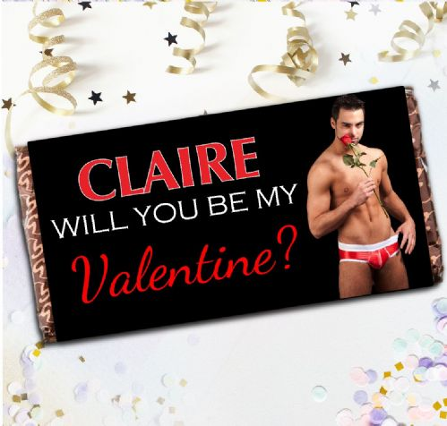 Personalised Sexy Man Valentines Day Milk Chocolate Bar Novelty Gift N96